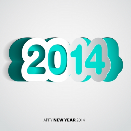 Happy New Year 2014 blue paper vector card - vector illustration Vector