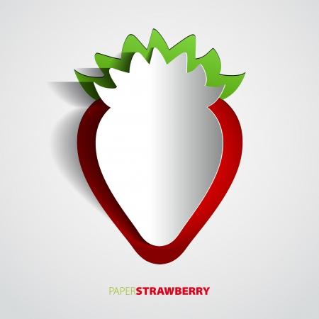 Paper strawberry cutout - vector illustration design card - EPS10 Vector