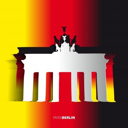 Brandenburg Gate from paper - Berlin - Germany - Card vector illustration