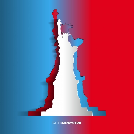 Statue of Liberty from paper - New York - USA - Card Vector Illustration