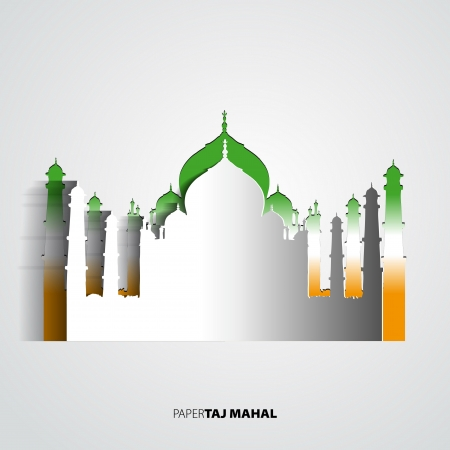 jehan: Taj Mahal from paper card - vector illustration Illustration