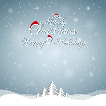 Christmas Greeting Card  Merry Christmas lettering Illustration