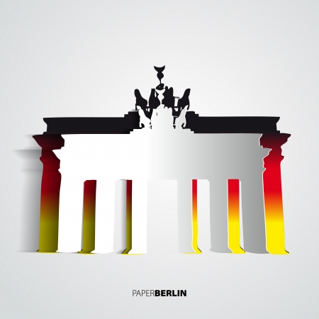 abbildung: Brandenburg Gate from paper - Berlin - Germany - Card vector illustration