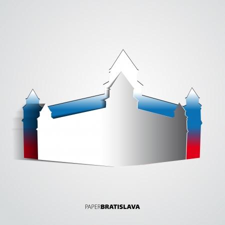 Bratislava Castle from paper - Slovakia - card vector Illustration Vector