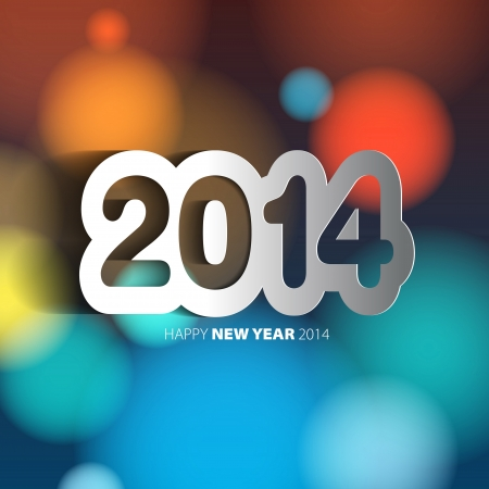 Happy New Year 2014 background with papercut year - vector illustration