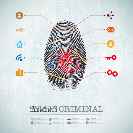 vector web design template - criminal theme finger stamp - infographics idea