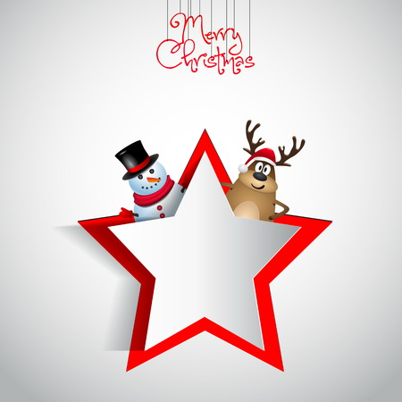 Reindeer and snowman with paper cut star - winter theme - Merry christmas - vector illustration - original new year card Vector
