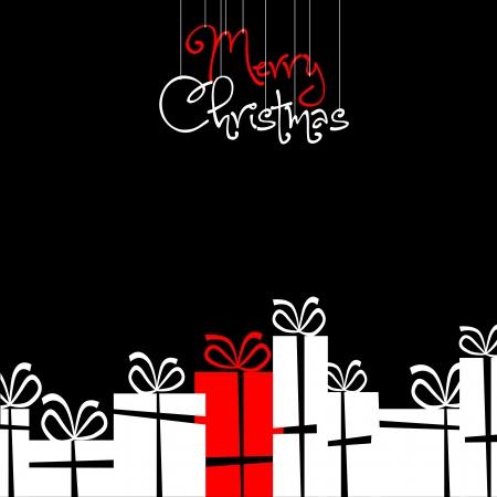 Retro Christmas card with christmas decorations  イラスト・ベクター素材