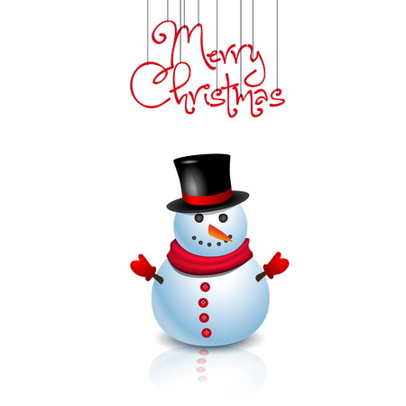 Christmas Greeting Card with snowman  Vector illustration - original new year card