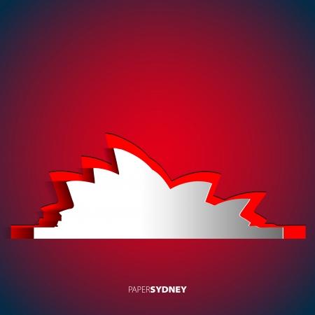 Sydney opera house from paper - Australia - Vector card illustration Illustration