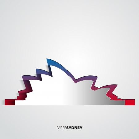 Sydney opera house from paper - Australia - Vector card illustration  イラスト・ベクター素材