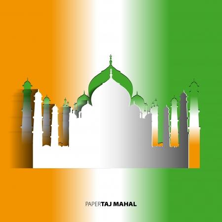 shah: Taj Mahal from paper card - vector illustration Illustration