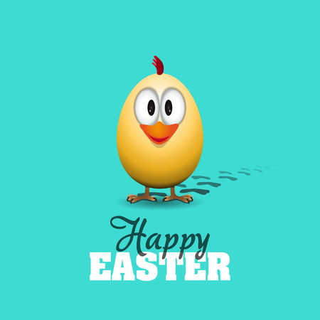 Funny Easter egg chick - background illustration - Happy easter card Vector