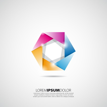 construction logo: Vector colorful cube construction logo isolated