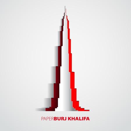 DOWN TOWN: Burj Khalifa tower from paper - Dubai - card vector Illustration