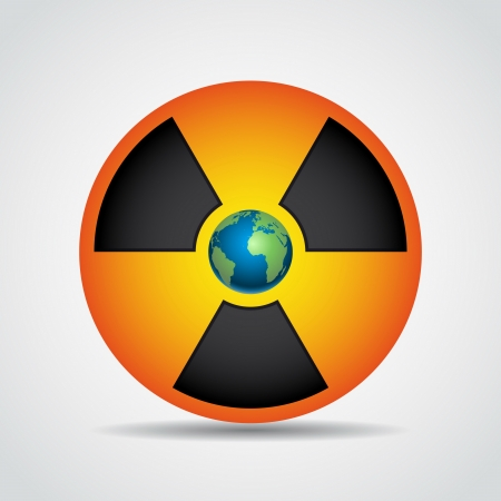 deterrent: Nuclear radiation symbol with earth isolated on grey