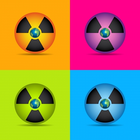 pollutant: Nuclear radiation symbol set with earth isolated on grey  Illustration