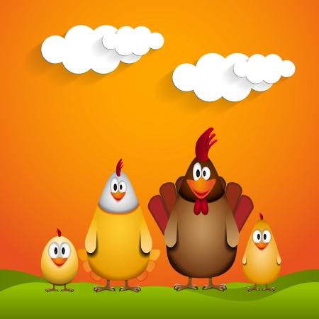 ostern lustig: Frohe Ostern - lustige H�hnerfamilie - Illustration Illustration