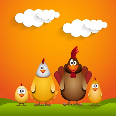 Happy Easter - Funny chicken family - illustration