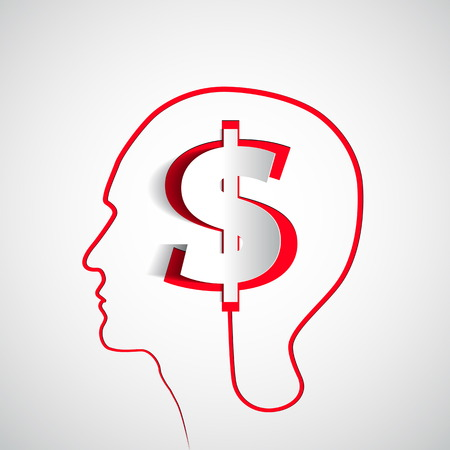 Money icon design in head think concept - vector illustration  イラスト・ベクター素材