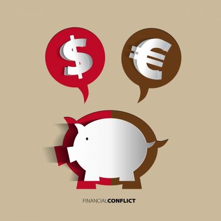 Piggy Bank concept for financial crisis or economic depression Vector
