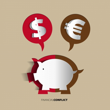 economic depression: Piggy Bank concept for financial crisis or economic depression Illustration