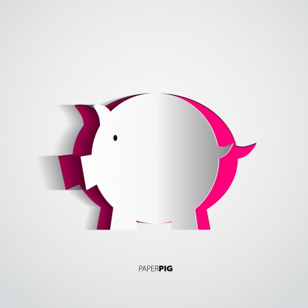 Paper pig cutted from paper - vector card Illustration