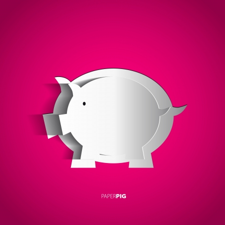 bezel: Paper pig cutted from paper - vector card Illustration