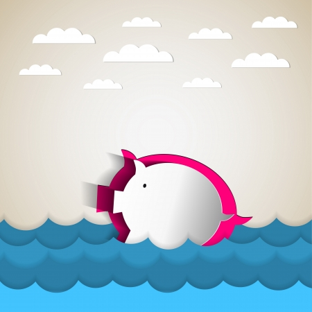 financial emergency: Drowning in debt and keeping your financial head above water represented by a piggy bank Illustration