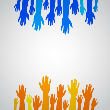 Colorful orange and blue up hands, vector illustration