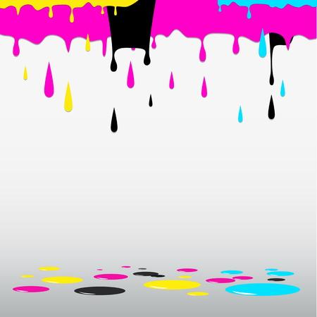 CMYK cyan magenta yellow black paints - vector illustration
