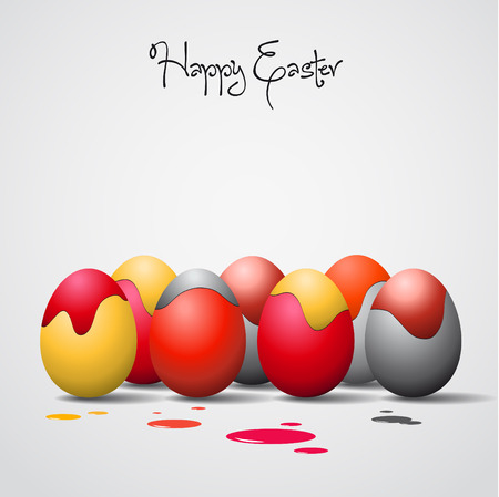 Funny Easter eggs with color stains - background illustration - Happy easter card