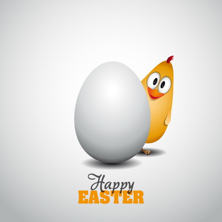 Funny Easter egg chick - background illustration - Happy easter card