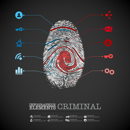 vector web design template - criminal theme finger stamp - infographics Vector