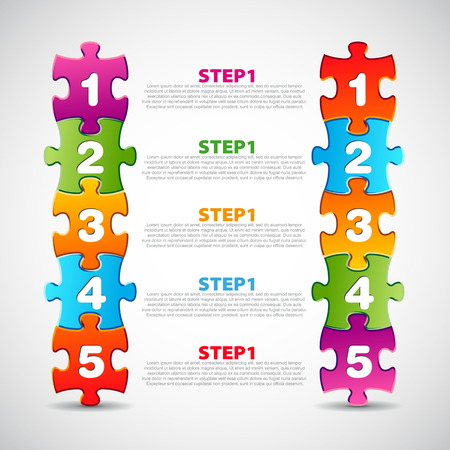 progress steps: One two three four five - vector progress icons for three steps