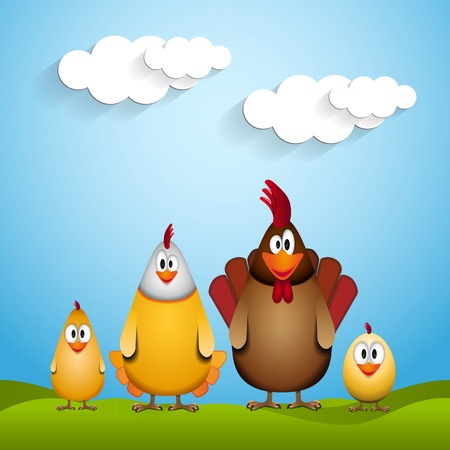 Happy Easter, Funny chicken family, vector card illustration