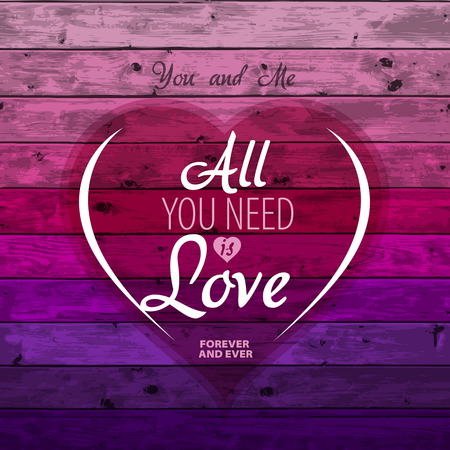 Love theme, Valentine Romantic card on a wooden background, Vector image Vector