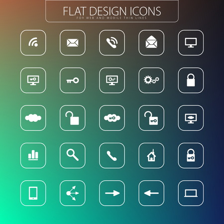 Flat design - icons pack  Simple line icons  Thin Icons Set Vector