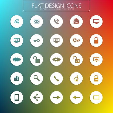 Platte ontwerp - iconen pack Eenvoudige lijn iconen Dunne Icons Set Stock Illustratie