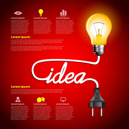 Creative light bulb idea abstract infographic, Inspiration concept modern design template workflow layout  イラスト・ベクター素材