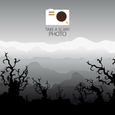 trees landscape: Photo camera scary, halloween trees landscape Illustration