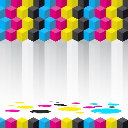 Cubes background - vector illustration - Cyan, magenta, yellow, black color - CMYK color theme Vector
