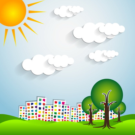 Paper urban landscape with trees Vector