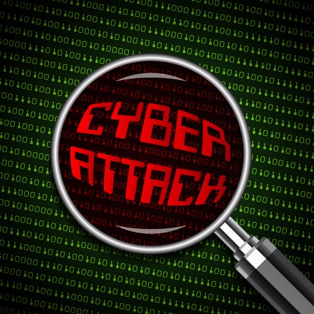 cyber attack: Magnifying Glass with Cyber Attack sign on digital binary background, security concept in vector format