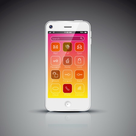 Modern mobile phone design concept template with flat user interface Vector