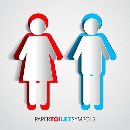 Paper toilet symbols - restroom with man and woman silhouette Vector