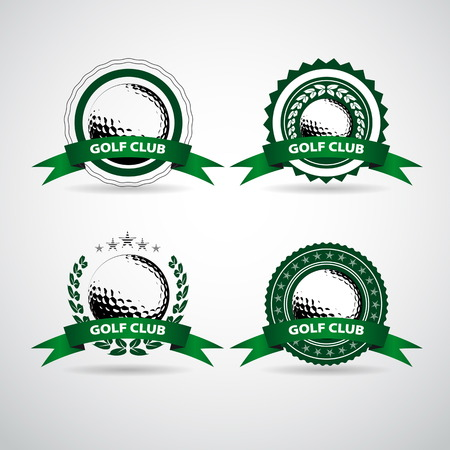 golf ball on tee: Set of golf club labels and emblems Illustration
