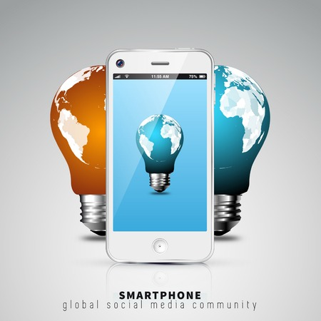 Global communication in the smart phone with bulb idea concept Vector