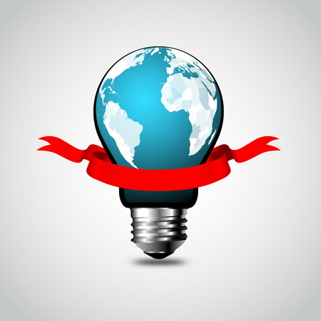 world earth day: Creative Social Network Lightbulb Element Vector Design with earth globe