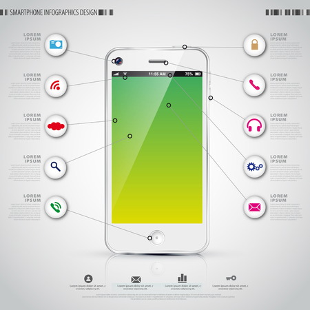 econimics: Mobile Smartphone with icon interface. Infographics vector template
